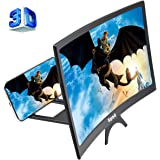 12'' 3D Curve Screen Magnifier for Cell Phone, HD Amplifier Projector Magnifing Screen Enlarger for Movies, Videos, and…