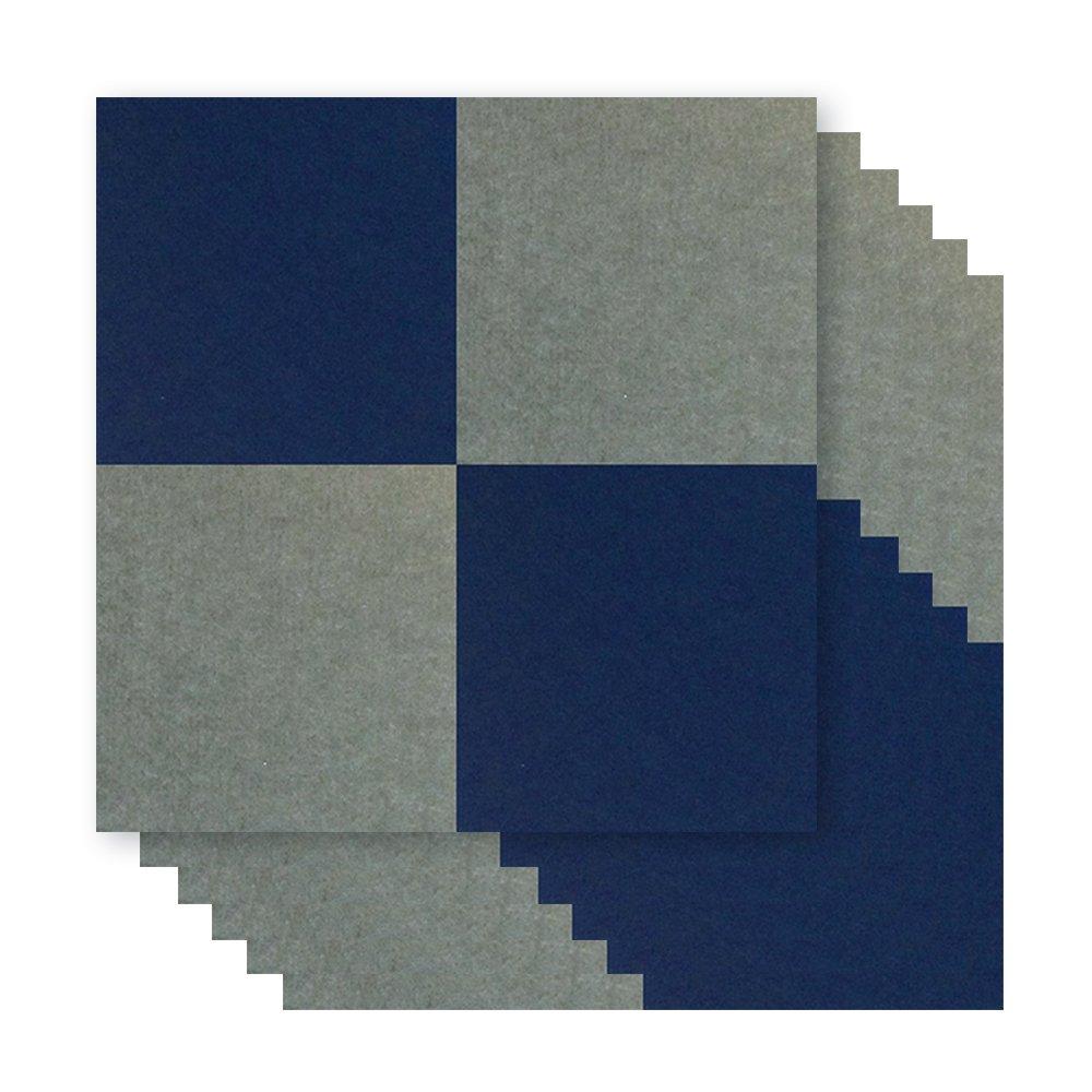 【賃貸でも安心】ピンで取り付け可能な 壁面「吸音」フェルトパネル スタンダード 40×40cm - グレー × ブルー -  各12枚 フェルメノン DS-FB-400M-GYBL-CTN B01L8WAPKI