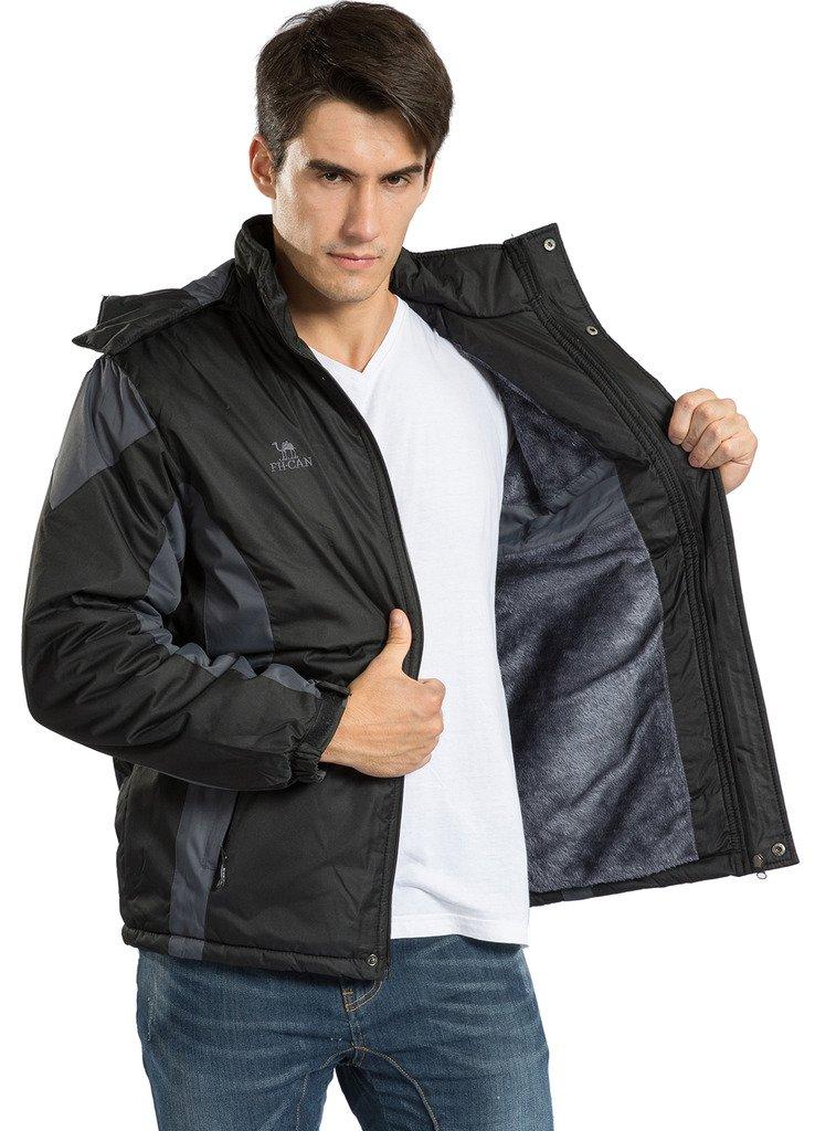 Men's Winter Warm Fleece Lined Ski Coats Outdoor Hooded Waterproof Parka Jacket Black US X-Large / Asian 5XL by HENGJIA (Image #5)