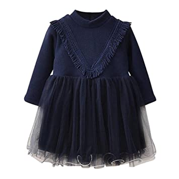 Inkach Toddler Baby Long Sleeve Lace Pageant Dress Girls Princess Dresses