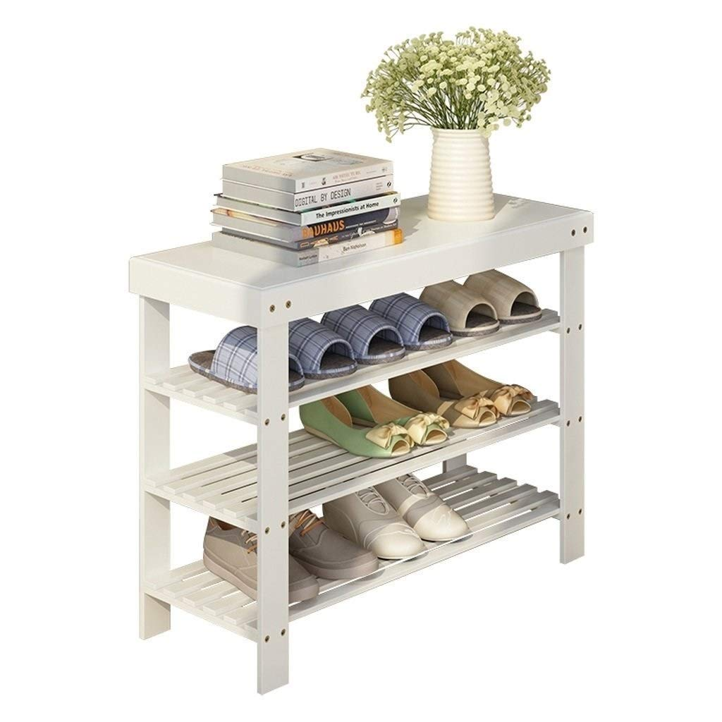 SCDXJ Shoe Rack - Sturdy Shoe Rack Bench, 3-Tier Bamboo Shoe Organizer, Storage Shelf, Ideal for Entryway Hallway Bathroom Living Room and Corridor by SCDXJ