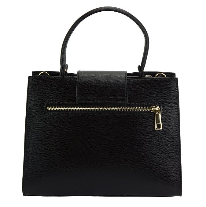 e761cdf4ac712 Genuine leather Vittoria Handbag - 305 - Leather Bags (Black)  Handbags   Amazon.com