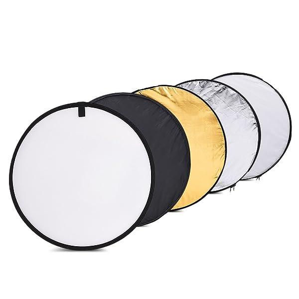 TOMTOP 24 PULGADAS 60CM 5 EN 1 (ORO, PLATA, BLANCO, NEGRO Y TRANSLÚCIDO) Estudio de fotografía portátil Reflector de fotos múltiples disco reflector de luz