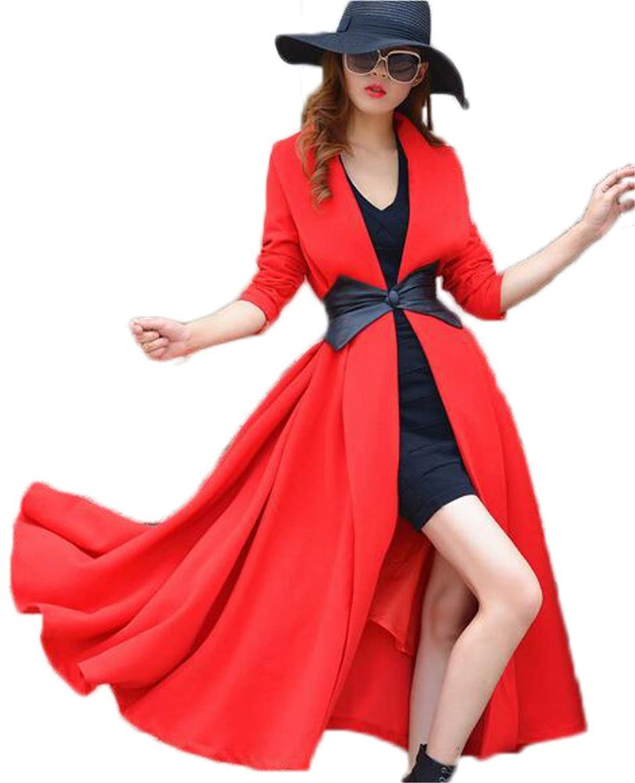 Women's Lapel Trench Suit Long Sleeve Wool Overcoat Elegant Long Outerwear