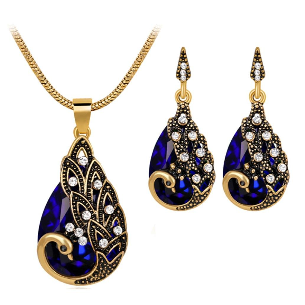 LLguz Simple Women Fashionable Personality Zircon Retro Peacock Pendant Necklace+Earrings Wedding Party Bridal Jewelry Set (Blue)