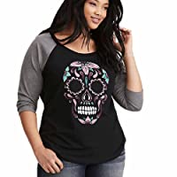 Viahwyt Women Plus Size Skull Printed O-Neck Long Sleeve Baseball T-Shirt Casual Loose Blouse Fashion Tops for Halloween