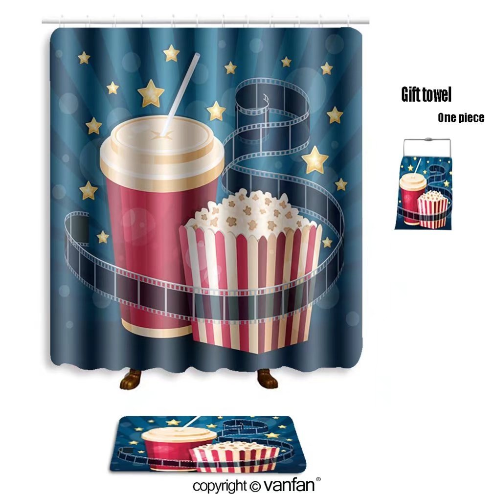 vanfan bath sets with Polyester rugs and shower curtain illustration with popcorn box cola film strip shower curtains sets bathroom 60 x 78 inches&23.6 x 15.7 inches(Free 1 towel and 12 hooks)