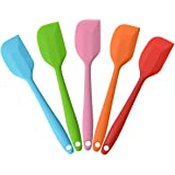 Silicone Spatula Heat Resistant Non-Stick Flexible Rubber With Solid Stainless Steel Kitchen Essential Gadget Small Premium Scraper Spoon Set of 5 (Random Color)