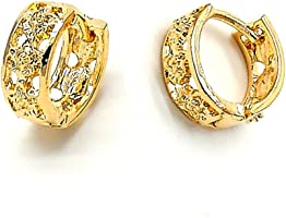 Yellow Gold-Tone Ladies Round Flower Design and Diamond-Cut Design Huggie Hoop Earrings (13mm x 2.1mm)