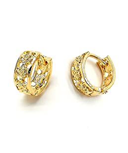 Yellow Gold-Tone Ladies Round Flower Design and Diamond-Cut Design Huggie Hoop Earrings (13mm x 2.1mm)