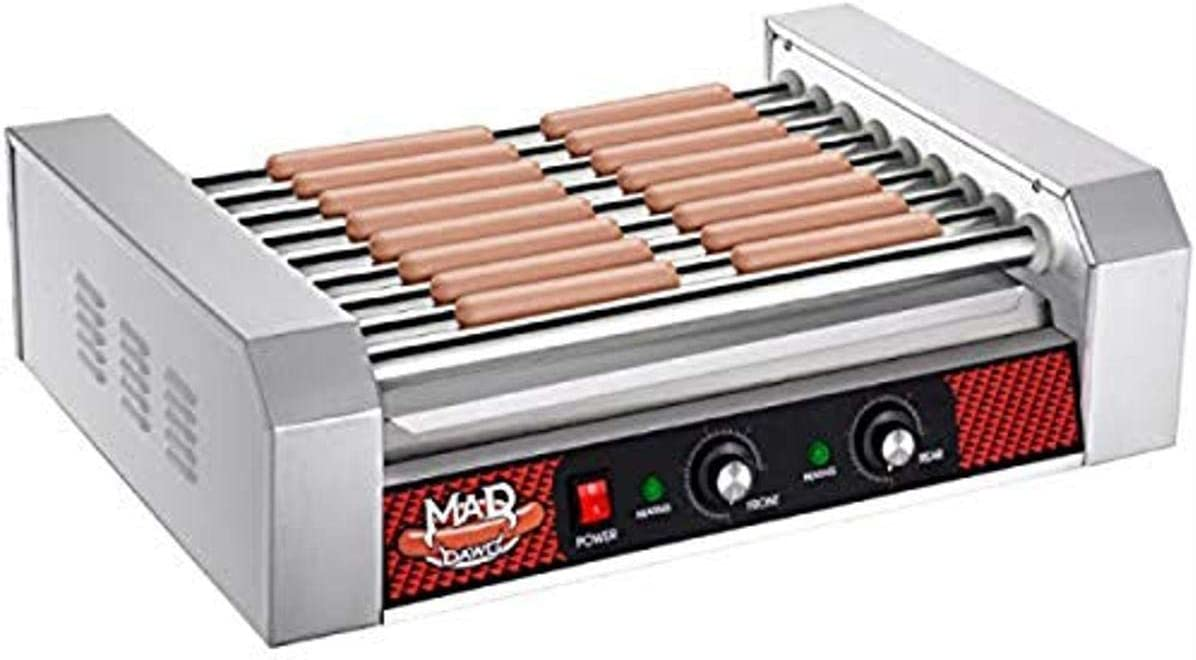 Great Northern Popcorn Company with 9 Stainless Steel Rollers Hot Dog Grill, 24 Sausages, Gray