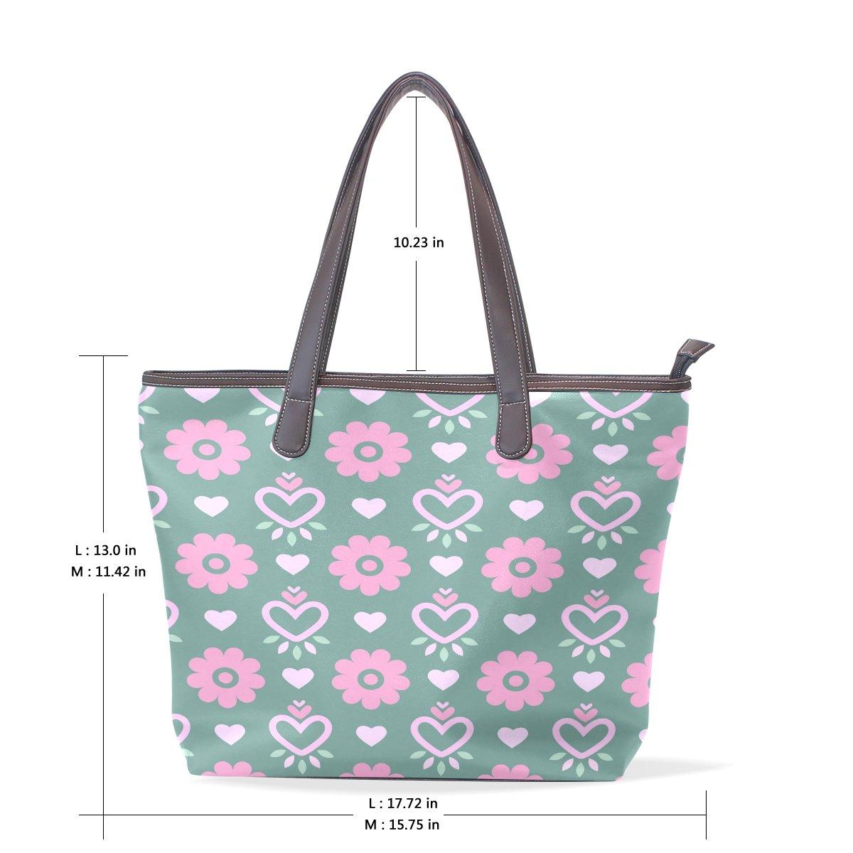 SCDS Cute Heart Plum Flower Pattern PU Leather Lady Handbag Tote Bag Zipper Shoulder Bag