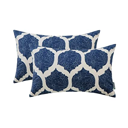 HWY 50 Cozy Throw Pillows Covers Set Cushion Cases for Couch Sofa Bed Navy  Blue Decorative Geometric Floral Rectangle Print 12 x 20 inch Pack of 2