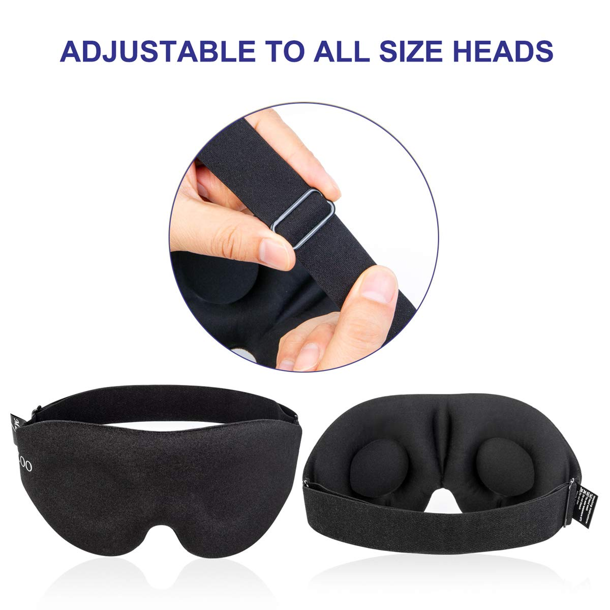 MZOO Sleep Eye Mask for Men Women 3D Contoured Cup Sleeping Mask  Blindfold with Ear Plug Concave