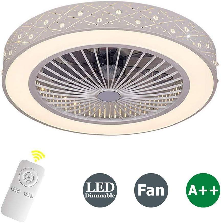 ZDXR Fan Ceiling Light Luz del Ventilador De Techo De Cristal Sala De Estar Control Remoto Invisible Ventilador De Techo Dormitorio Lámpara De Atenuación Silenciosa