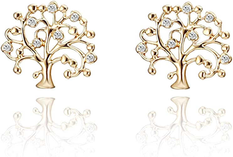 9ct Gold Tree of Life Design Stud Earrings Boxed