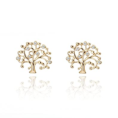f5463f798 Stud Earring for Women,Tree of Life Earring Studs Girls Rose Gold or Silver  Stud