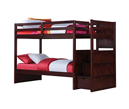 Amazon Com Donco Twin Over Twin Modular Stairway Loft Bed Kitchen
