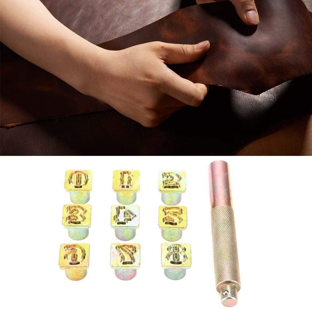 Zoternen Lot de 9 tampons m/étalliques en Cuir 0~8 Chiffres en m/étal 13 mm avec Marteau /à Chocs pour Cuir Plastique et m/étal Souple