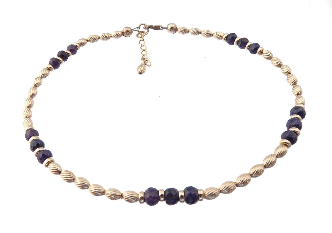DAMALI 14K Gold Ankle Bracelets: Dark Blue Sapphire Beaded September Birthstone Jewelry