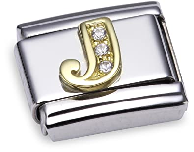Nomination Composable Classic Letter A Stainless Steel and 18K Gold TYQa6Xt