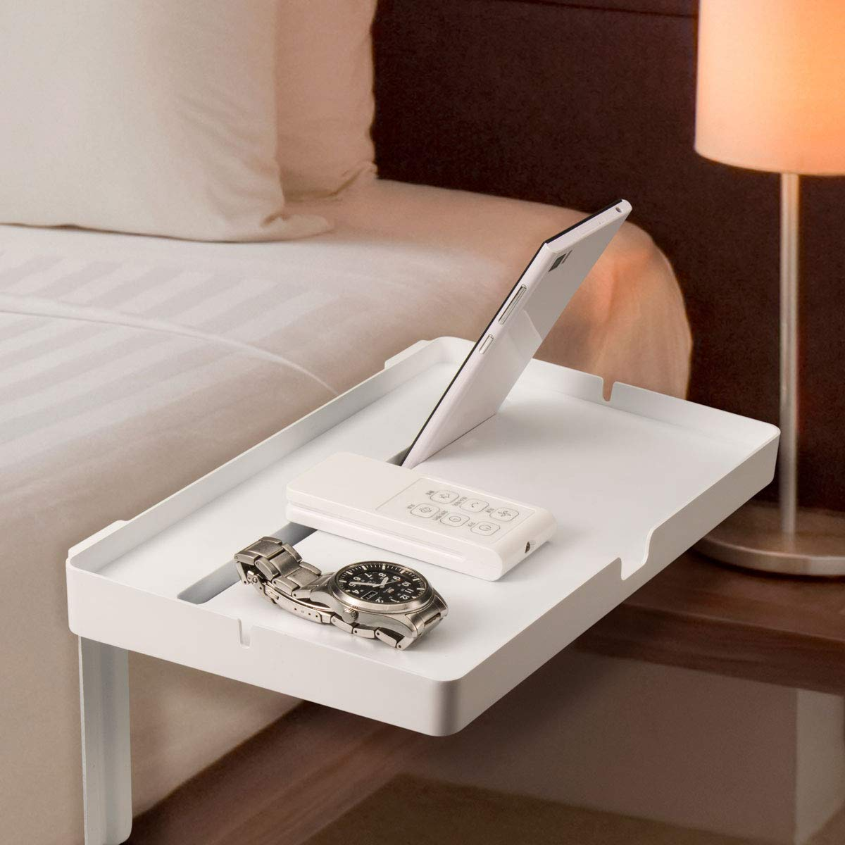 ATECH Phone Bed Nightstand Table Bedside Shelf with Phone Stand Cable Organizer for College Bunk Bed, Dorm Room - No Installation - holds Glasses, Drinks, Books, and Remote (White)