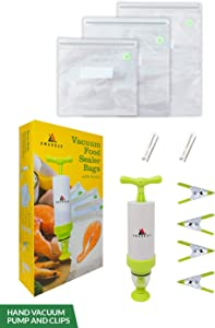 Amandar Reusable Sous Vide Bags, 30pcs - Vacuum Seal Bags With Pump For Food Storage – 3 Different Size Bags, 1 Hand Pump and 4 Sous Vide Clips – BPA Free and Easy To Use