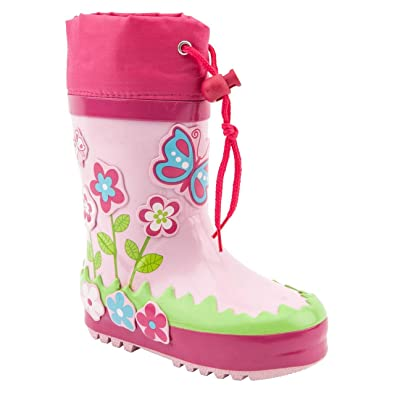b214bb51e140 Pre-School Girls Wellies 3d Bloom Tie Top Pink/Multi Wellington Boots Size 4