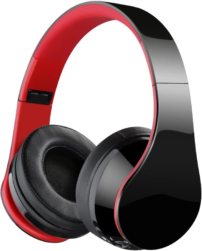 Bluetooth Headphones, Over Ear Bluetooth Headphones, Hi-Fi Stereo Wired and Wireless Headphones, Folding Lightweight Wireless Headset with Built-in Mic for Cell Phone/TV/PC-Black (Red)