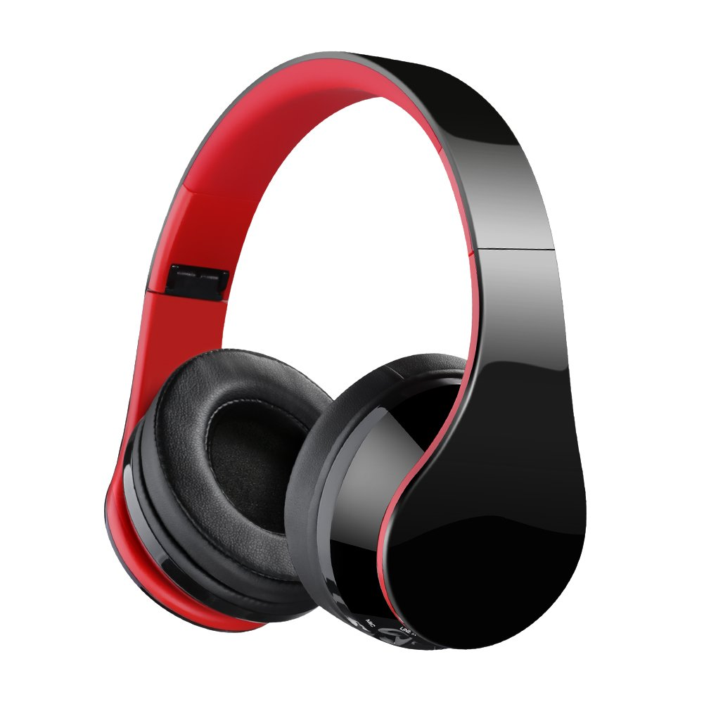 Bluetooth Headphones, Over Ear Bluetooth Headphones, Hi-Fi Stereo Wired and Wireless Headphones, Folding Lightweight Wireless Headset with Built-in Mic for Cell Phone TV PC-Black Red
