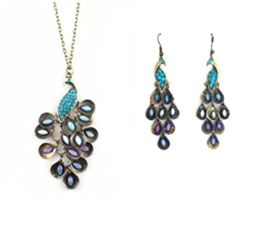 34b50ce2f71277 Image Unavailable. Image not available for. Color: New Lady Vintage Retro  Blue the Prancing Peacock Earrings
