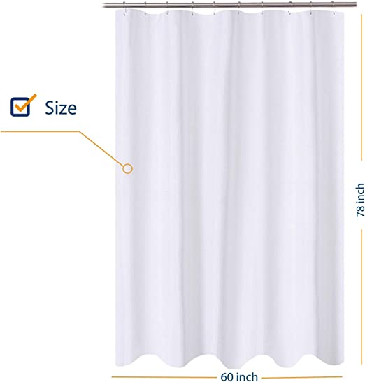 Amazon Com N Y Home Fabric Shower Curtain Liner 60 X 78 Inch Long