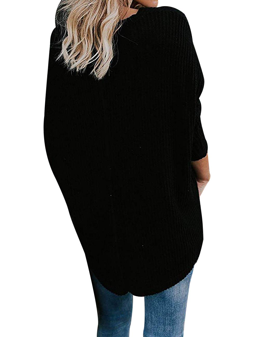 Miskely Women's Waffle Knit Tunic Tops Tie Knot Henley Tops Blouse Casual Loose Bat Wing Plain Shirts (Small, Black) by Miskely (Image #3)