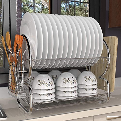 Kitchen 2-Tiers Dish Drainer Drying Rack Storage with Drain