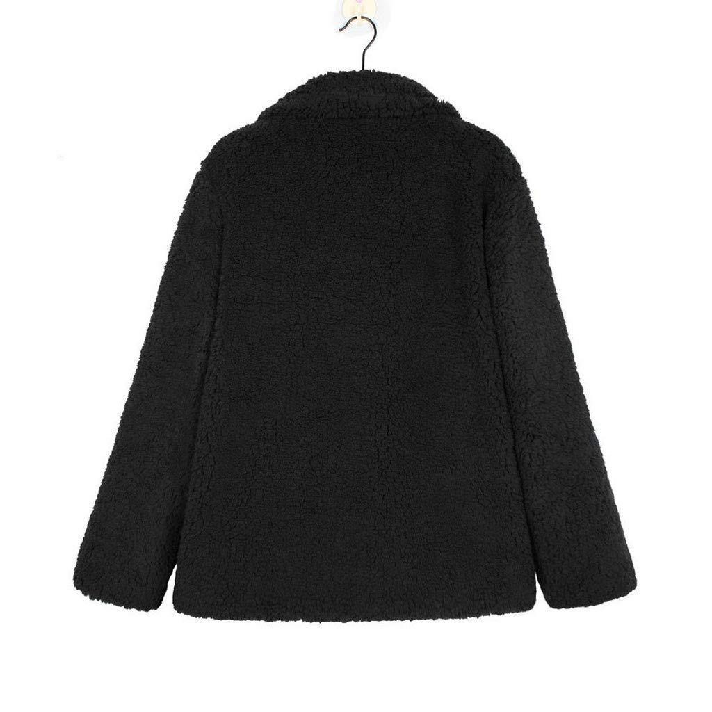 Usstore  Women Plush Cardigan Winter Warm Casual Jacket Lapel with Pockets Parka Outwear Loose Coat Overcoat Outercoat