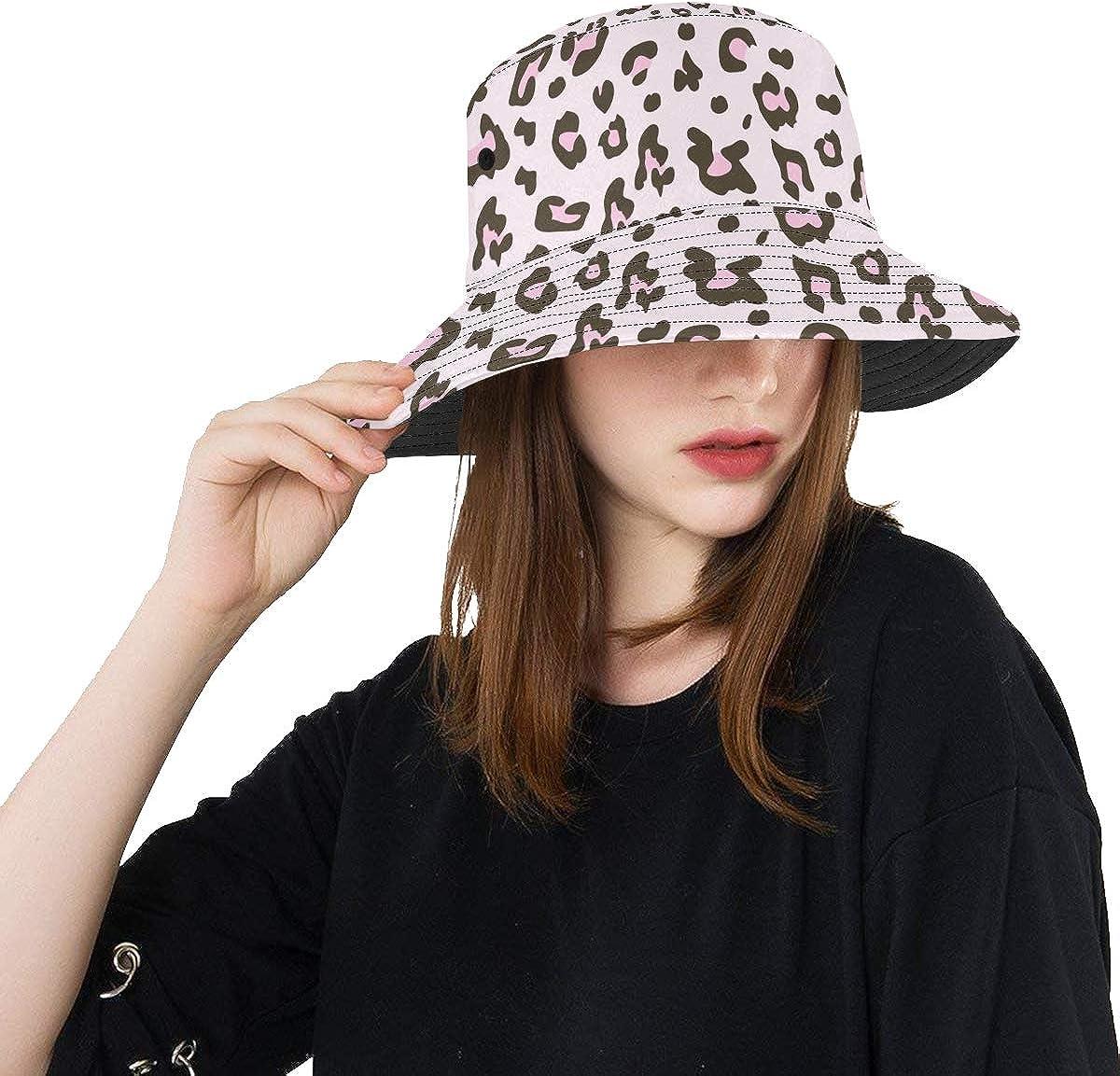 Divertido Sombrero de Playa Hermosa Piel de Leopardo Rosa Verano Unisex Pesca Sun Top Bucket Sombreros para Adolescentes Mujeres Gorra de Pescador Deporte al Aire Libre Lindo Sombrero para el Sol
