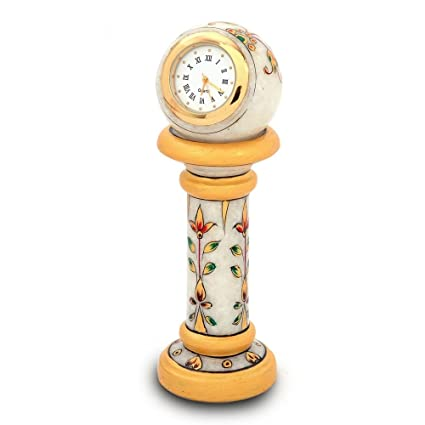 Show Kart Gift Ethnic Design Marble Table Clock Handicraft -145
