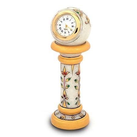 Little India Ethnic Design Marble Table Clock Handicraft (White, 145)