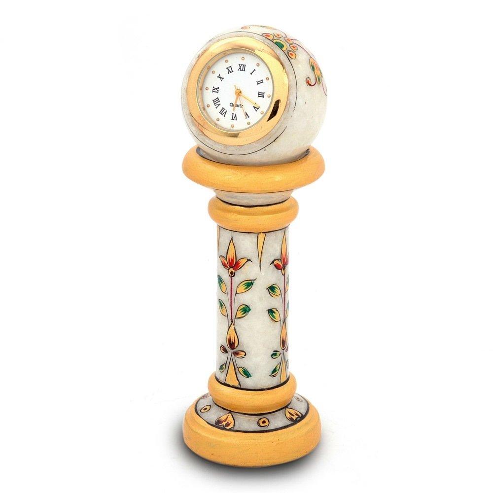 Little India Ethnic Design Marble Table Clock Handicraft (145, White)