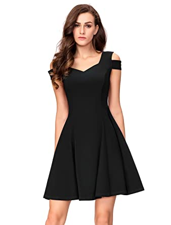 d50843a980 InsNova Women's Cold Shoulder Little Cocktail Party A-line Skater Dress (X- Small