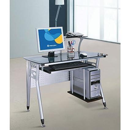 Scrivania Porta Pc In Vetro.Scrivania Porta Computer Pc In Acciao E Vetro Piano Estraibile