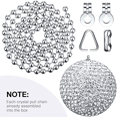 Black 2 Pieces Bling Bling Rhinestones Ball Pull Chain Each 20 Inch Adjusting Extension Chain for Ceiling Fan Pull Chain Switch Home DIY Ornament