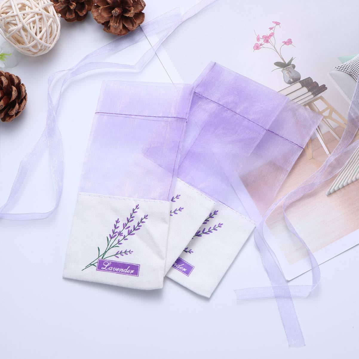 TOPBATHY 10pcs Sachet Empty Bags Purple Drawstring Gauze Sachets Bag for Lavender Spice and Herbs