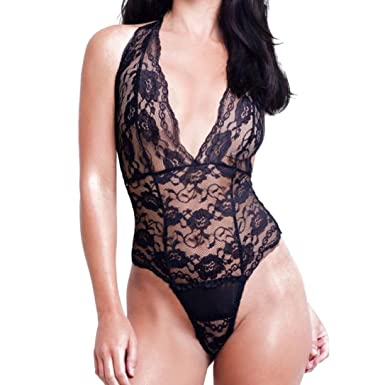 7d548744f270 Kanpola-Lingerie Sexy One-Piece Lingerie, Women's Lace Hook Flower Deep V  Collar