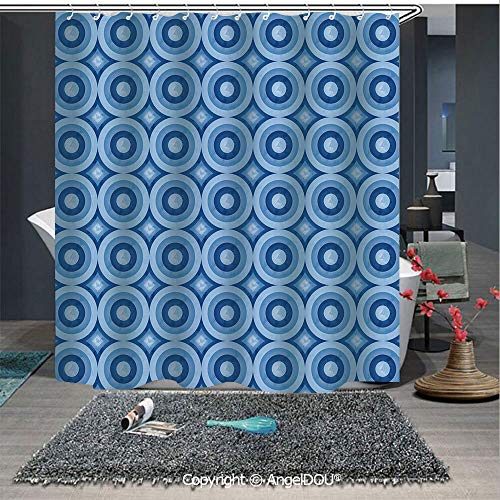 (AngelDOU Blue Fashion Styles Printed Shower Curtain Retro Pattern with Grunge Look Classical Revival Tile Design Nested Ring Shapes for Home Hotel Club Bathroom Decoration)