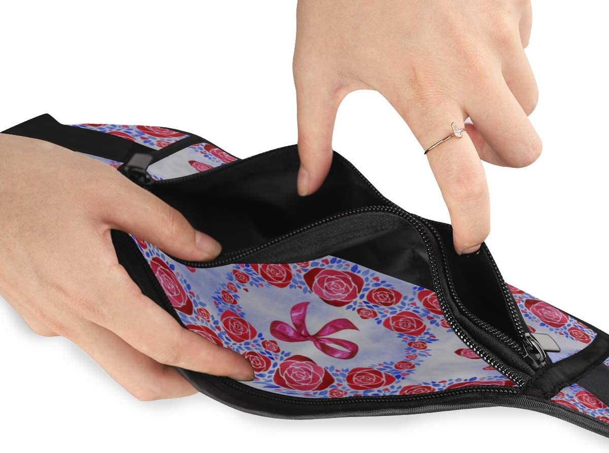Travel Waist Pack,travel Pocket With Adjustable Belt Pattern Flowers Vintage Floral Running Lumbar Pack For Travel Outdoor Sports Walking