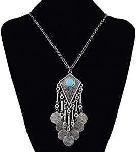 Bohemia Vintage Tassels Coin Turquoise Silver Plated Alloy Pendant Necklace 5365