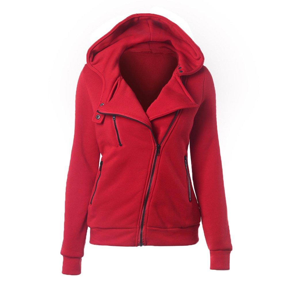 HEMAY Women's Zip Up Sweatshirt Long Sleeve Hooded Coat Jacket