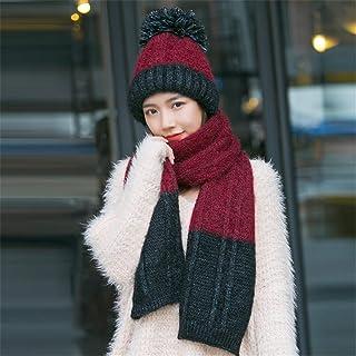 HUAIX Home Sciarpa Cappello Una Femmina Inverno Autunno e Inverno 2018 Nuova Versione Coreana di Cappello di Maglia di Lana Selvaggia Inverno Marea Cappello Ispessimento (Color : White Hat)