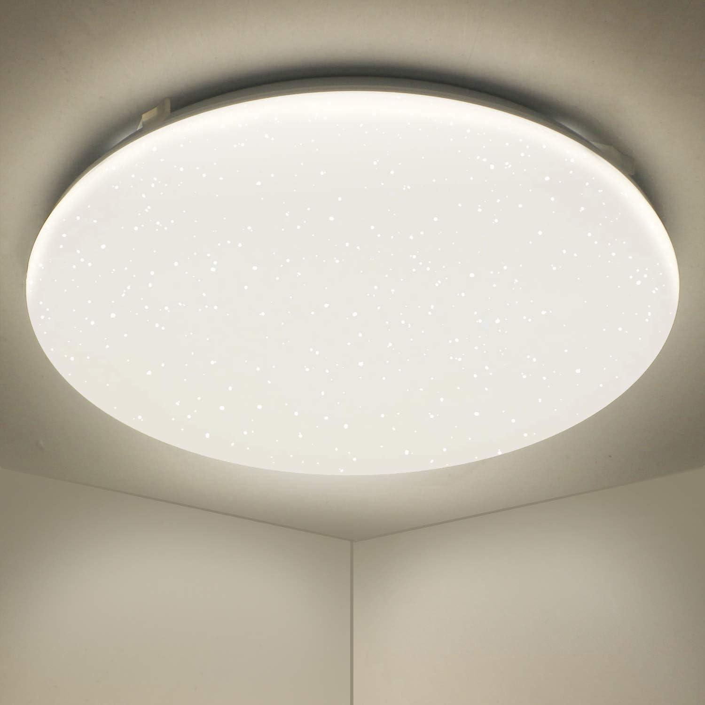 IMVSINCERE 18W LED Bathroom Light,4000K Natural White IP44 Waterproof,1800LM,Flush Star Ceiling Light,/Ø32cm,Modern Ultra-Thin Plastic Ceiling Lighting for Bathroom Bedroom Kitchen and Corridor